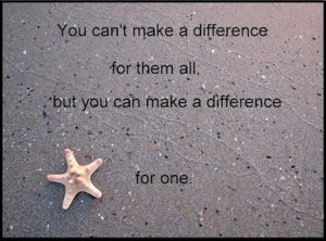 You can't make a difference for them all, but you can make a difference for one.